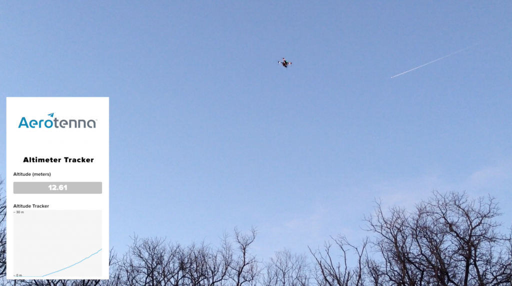μLanding flight test with Aerotenna's real-time altitude tracking app